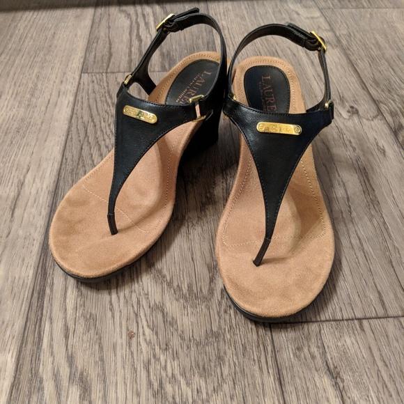 675c9ab546 NEW Ralph Lauren black Nikki wedge sandal. M_5b301e1b04e33dee0f9cd4b6